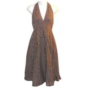 J. Crew Brown Halter Polka Dot Dress